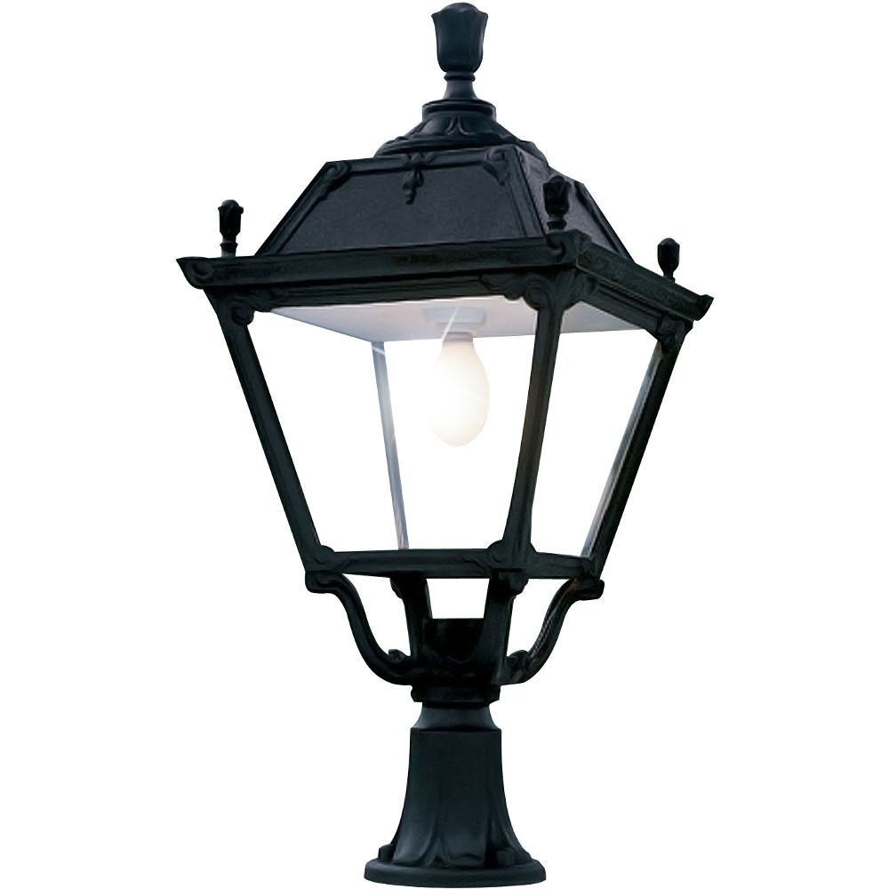 Warwick Pedestal Lantern Light Black: Elia Lot 80W LED Pedestal Lantern Black